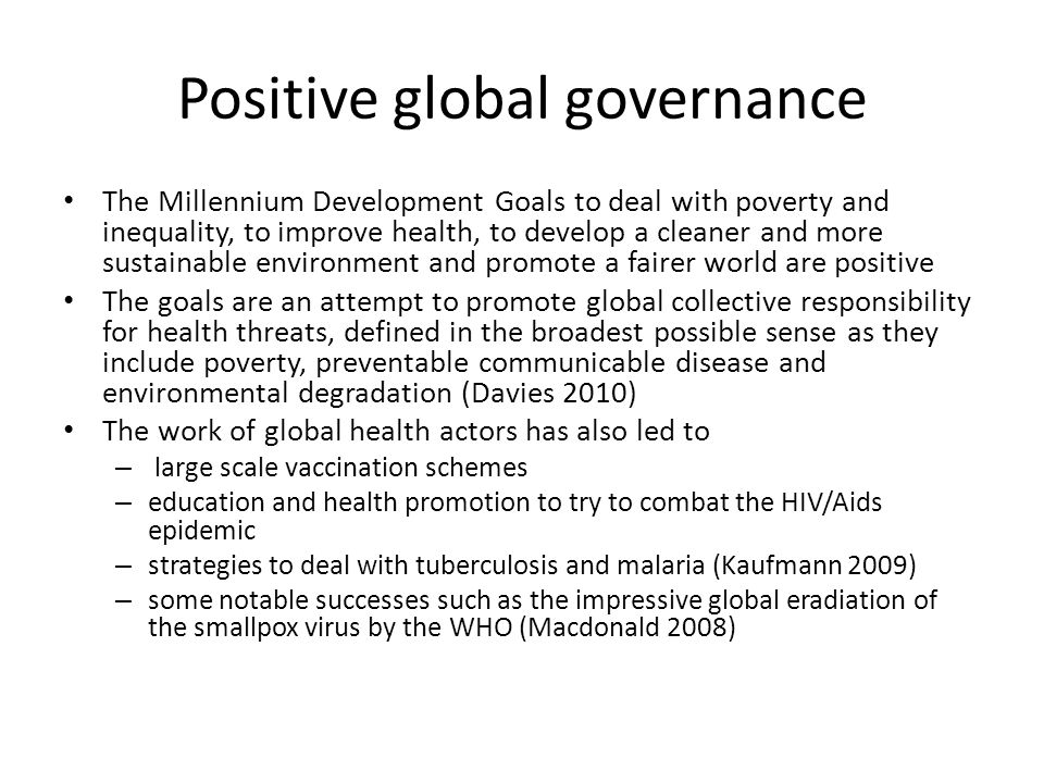 Positive global governance