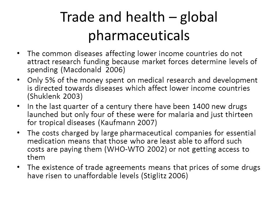 Trade and health – global pharmaceuticals