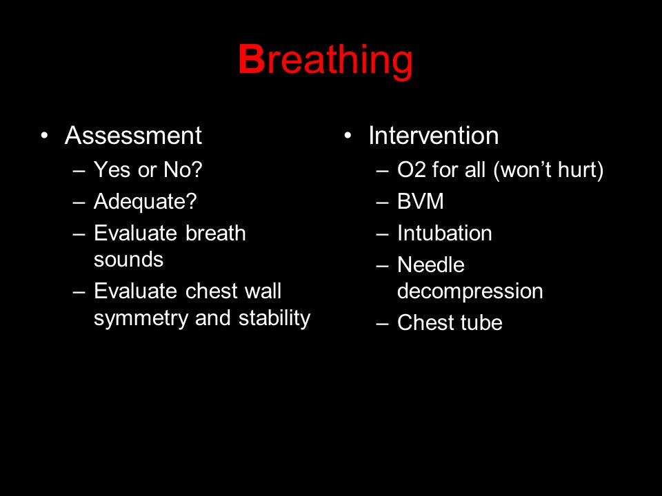 Breathing Assessment Intervention Yes or No Adequate