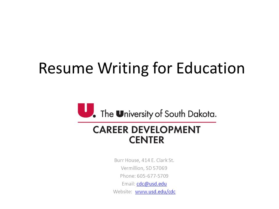 Resume Writing for Education