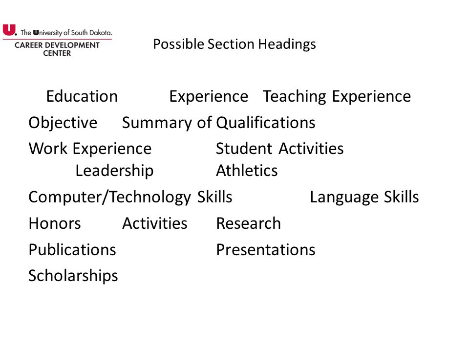 Possible Section Headings