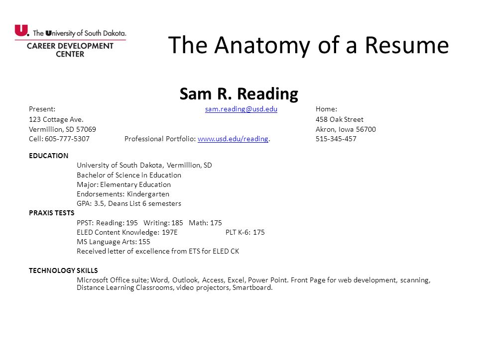 The Anatomy of a Resume Sam R. Reading