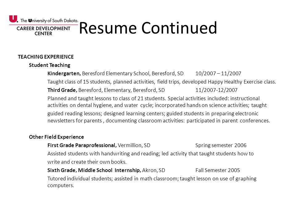 Resume Continued