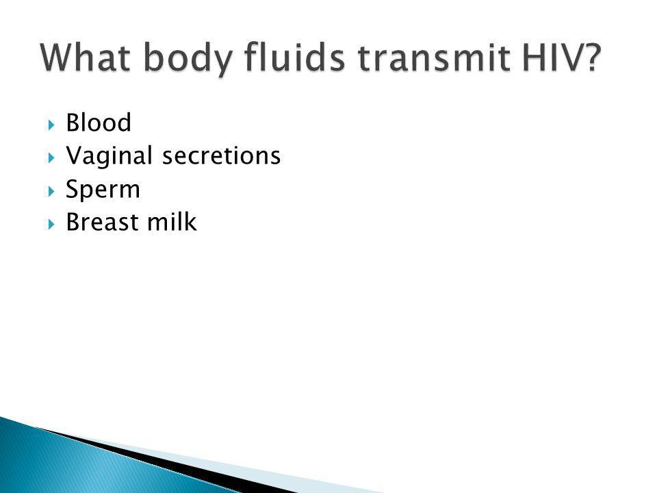 What body fluids transmit HIV