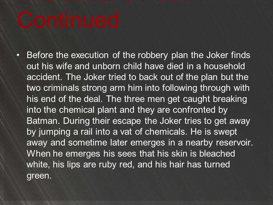 The Joker's Past Continued