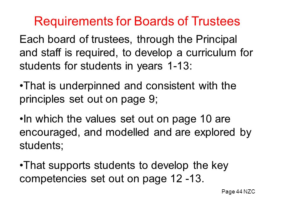 Requirements for Boards of Trustees