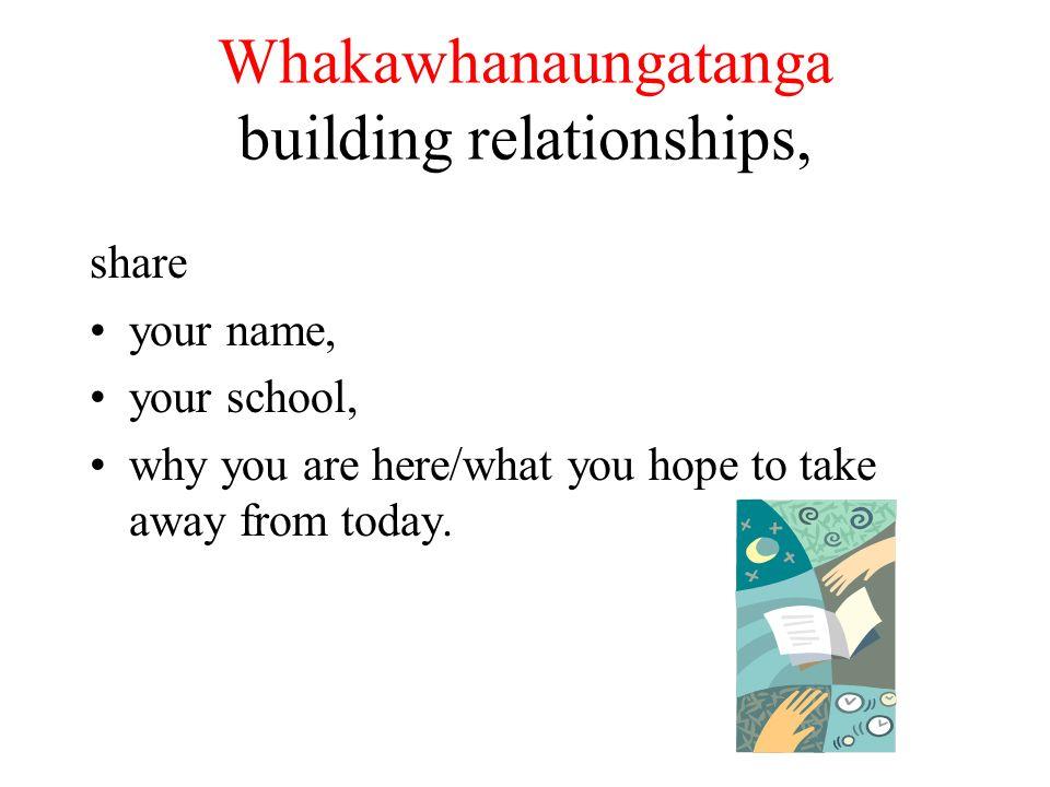Whakawhanaungatanga building relationships,