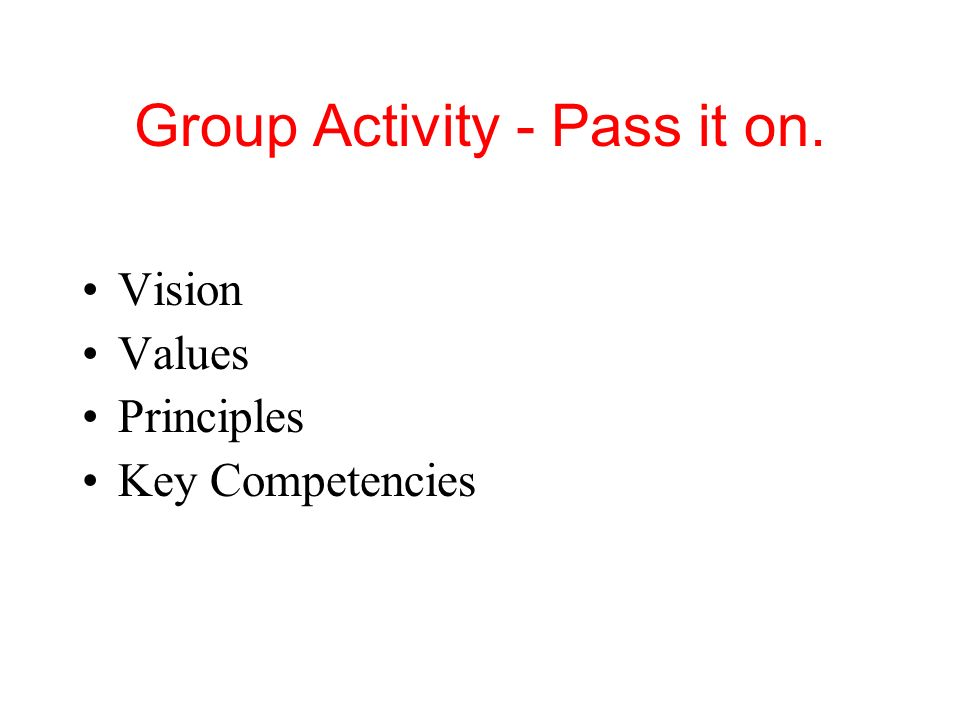 Group Activity - Pass it on.