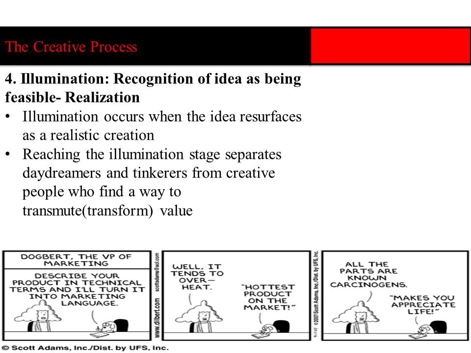 The Creative Process 4. Illumination: Recognition of idea as being feasible- Realization.