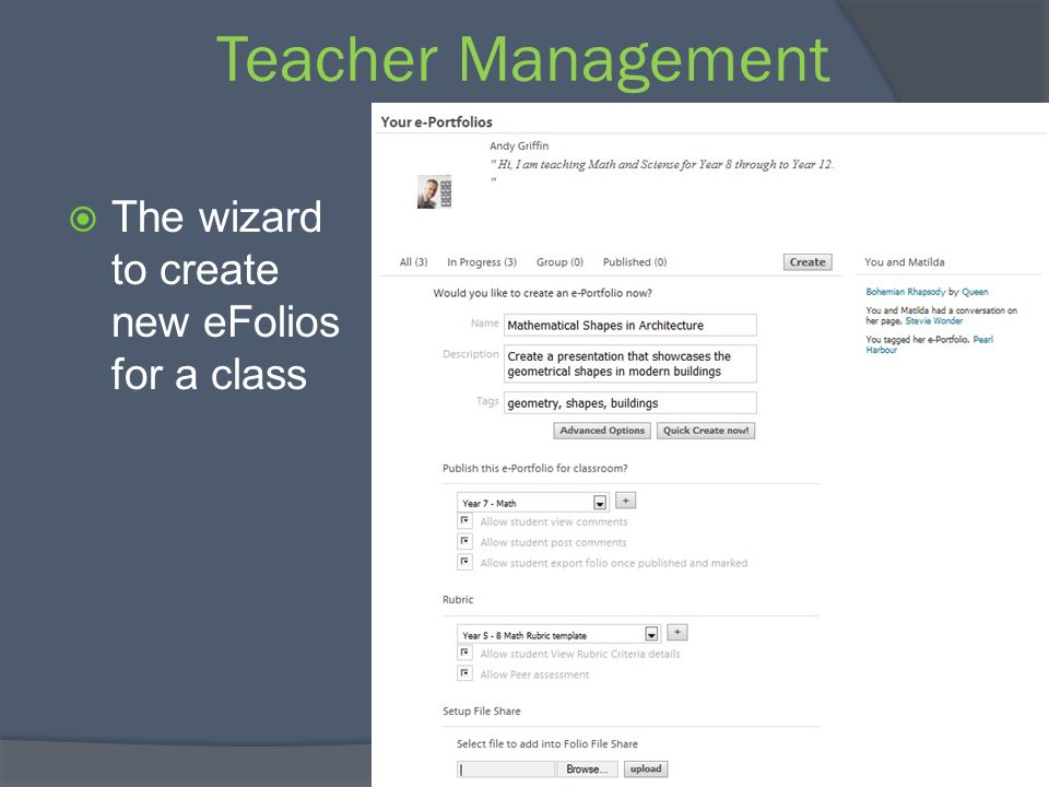 Teacher Management The wizard to create new eFolios for a class