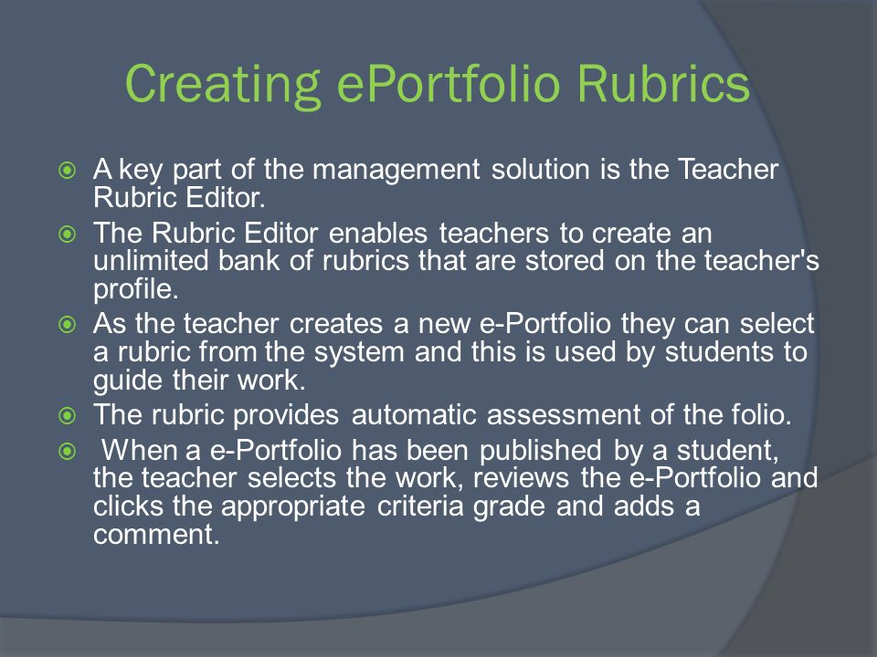 Creating ePortfolio Rubrics