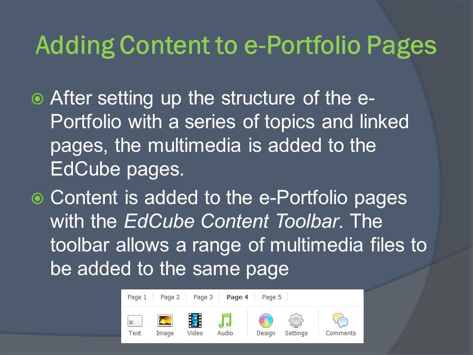 Adding Content to e-Portfolio Pages