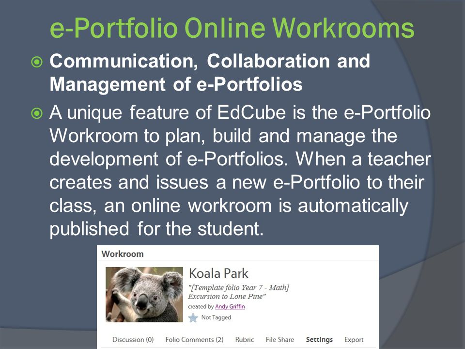 e-Portfolio Online Workrooms