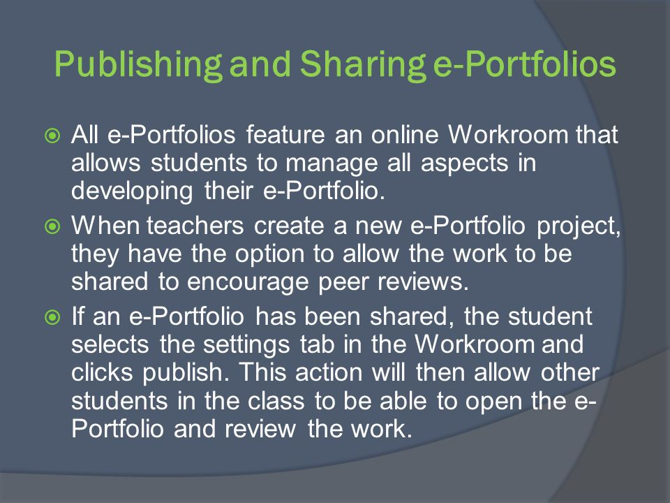Publishing and Sharing e-Portfolios