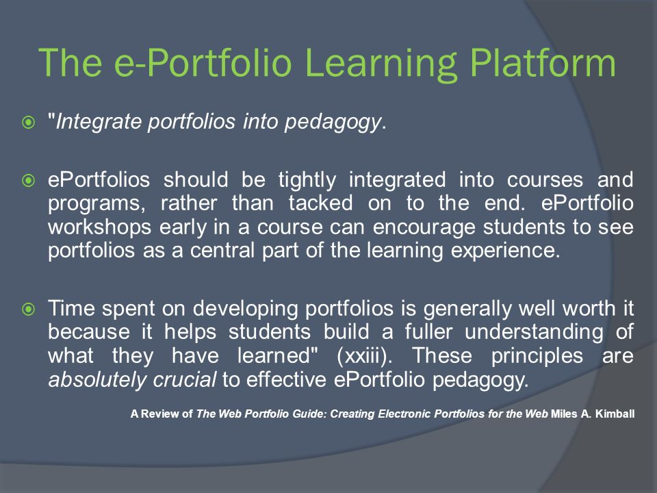 The e-Portfolio Learning Platform