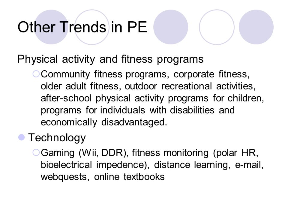 Other Trends in PE Physical activity and fitness programs Technology