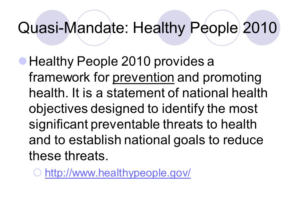 Quasi-Mandate: Healthy People 2010