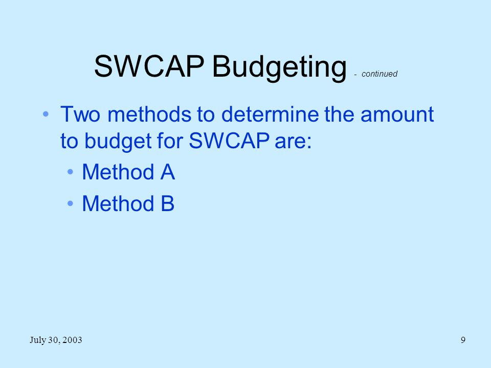 SWCAP Budgeting - continued