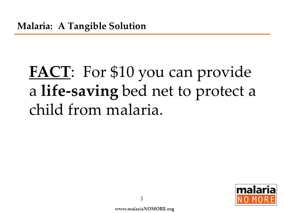 Malaria: A Tangible Solution