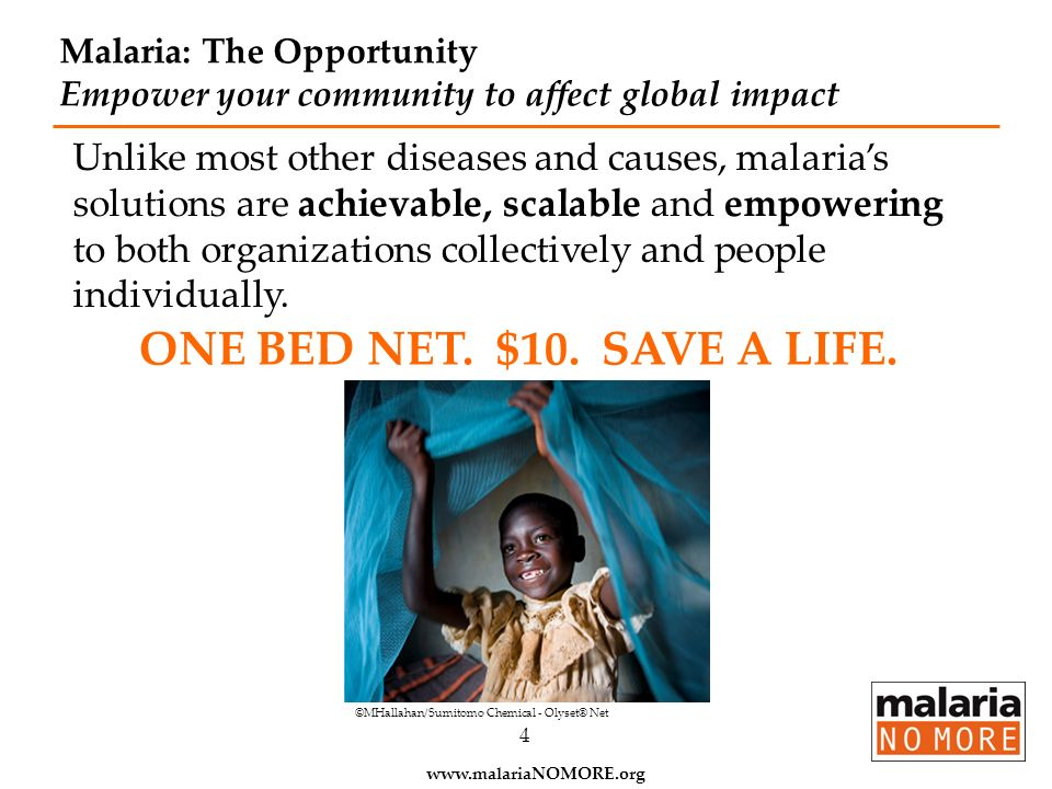 Malaria: The Opportunity Empower your community to affect global impact