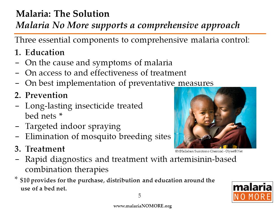 Malaria: The Solution Malaria No More supports a comprehensive approach