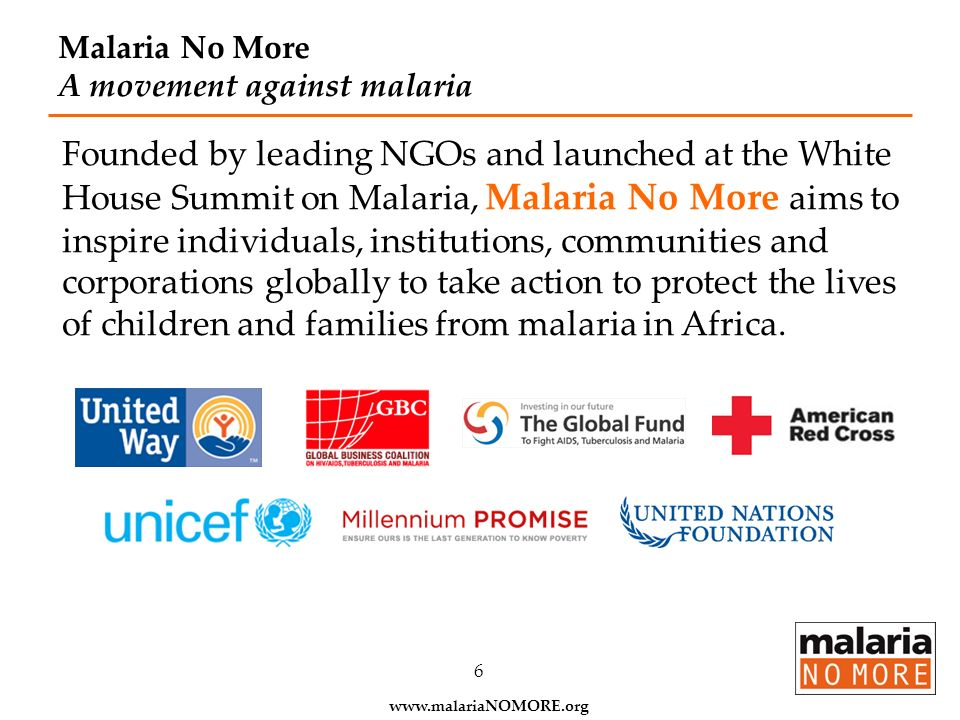 Malaria No More A movement against malaria