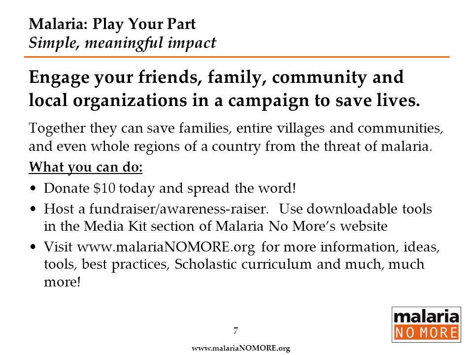 Malaria: Play Your Part Simple, meaningful impact