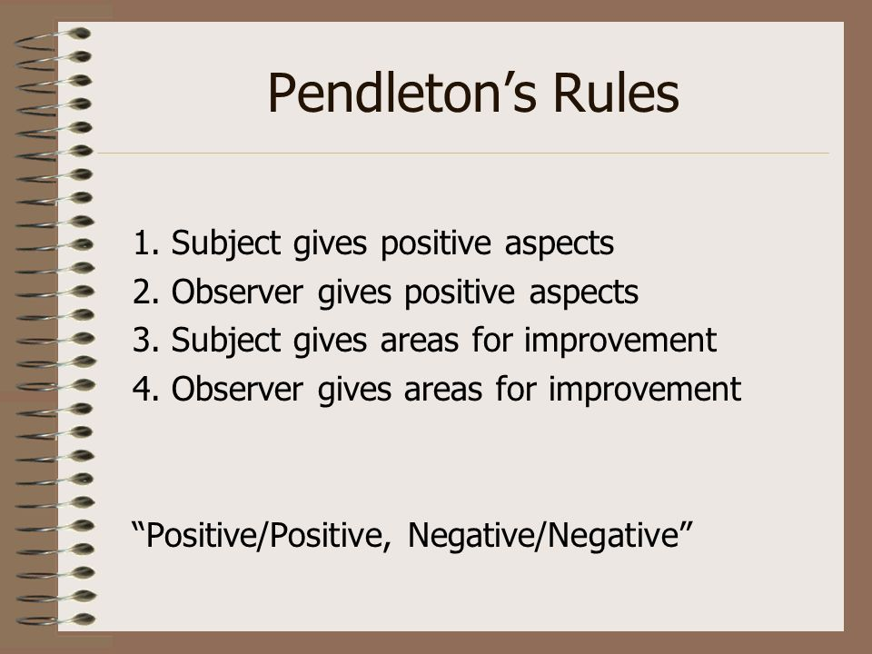 Pendleton's Rules 1. Subject gives positive aspects