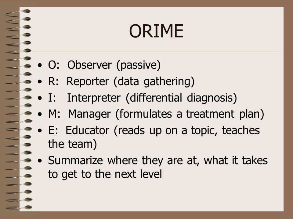 ORIME O: Observer (passive) R: Reporter (data gathering)
