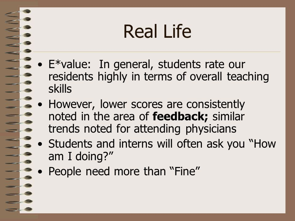 Real LifeE*value: In general, students rate our residents highly in terms of overall teaching skills.