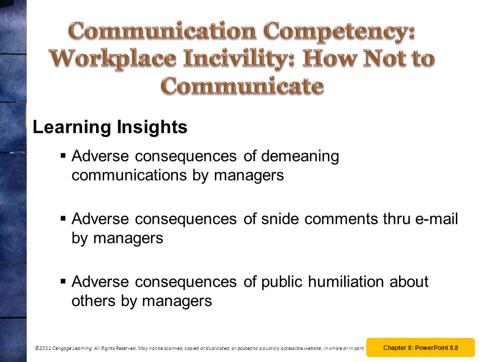 Communication Competency: Workplace Incivility: How Not to Communicate