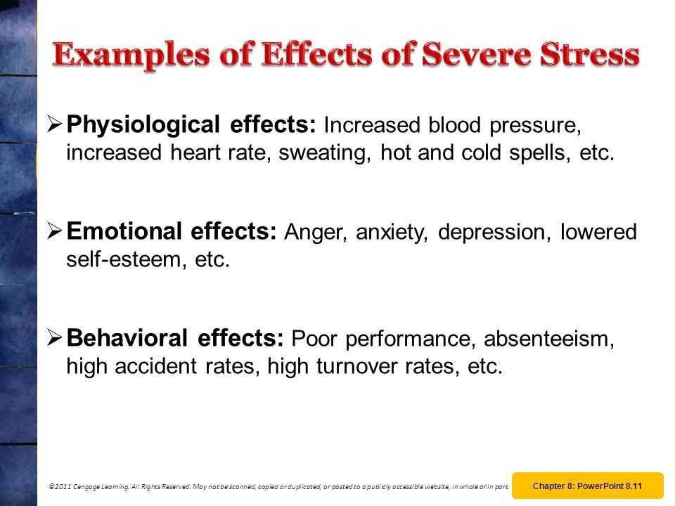 Examples of Effects of Severe Stress