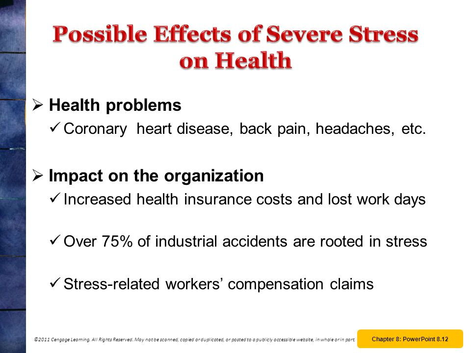 Possible Effects of Severe Stress on Health