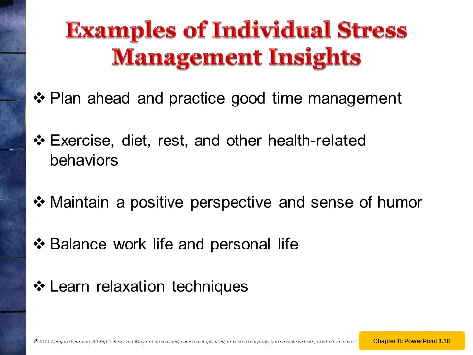 Examples of Individual Stress Management Insights