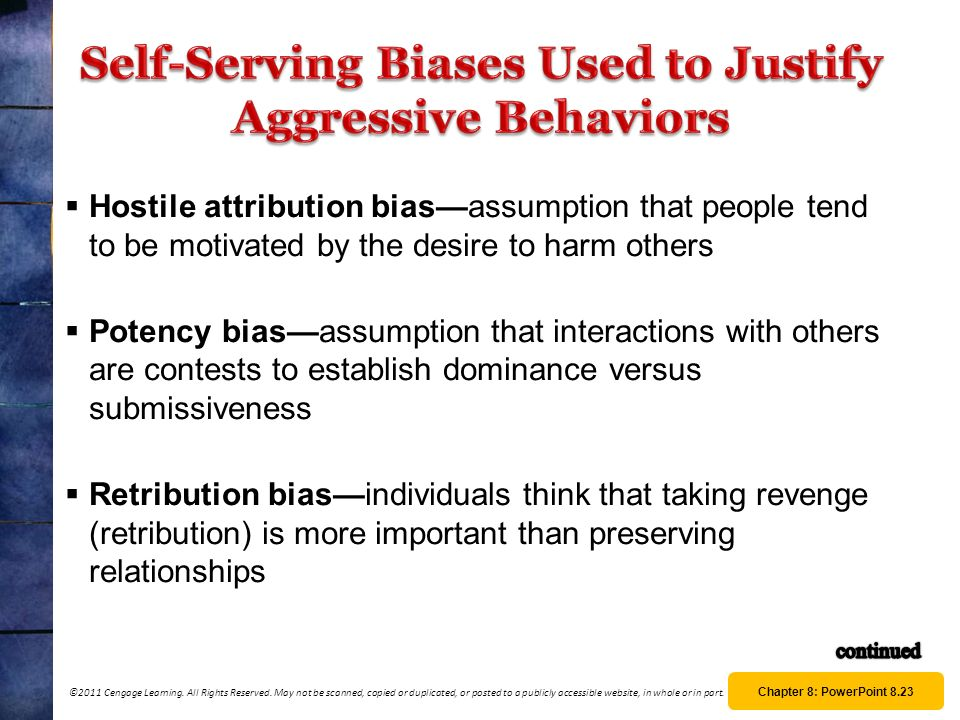 Self-Serving Biases Used to Justify Aggressive Behaviors
