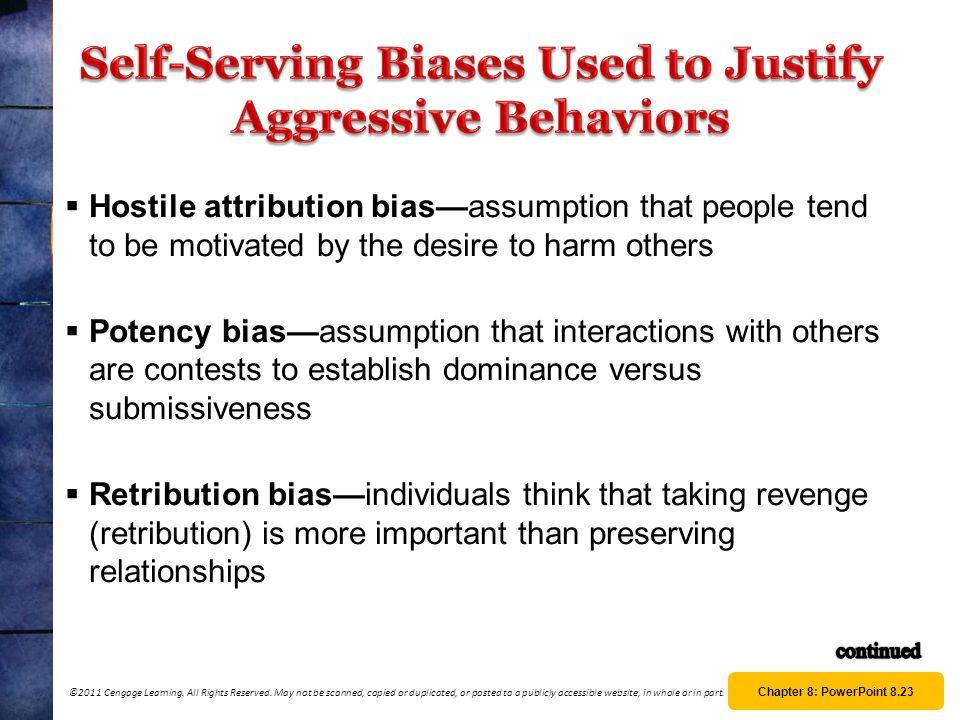 Self-Serving Biases Used to Justify Aggressive Behaviors
