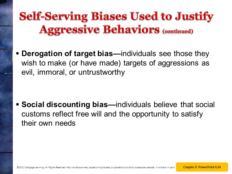 Self-Serving Biases Used to Justify Aggressive Behaviors (continued)