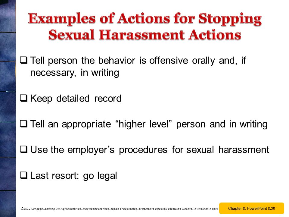 Examples of Actions for Stopping Sexual Harassment Actions