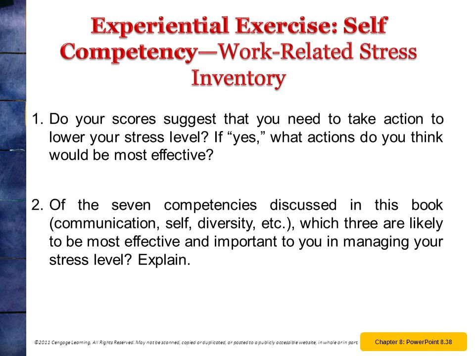 Experiential Exercise: Self Competency—Work-Related Stress Inventory