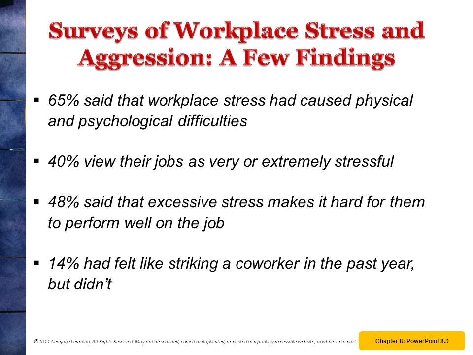Surveys of Workplace Stress and Aggression: A Few Findings