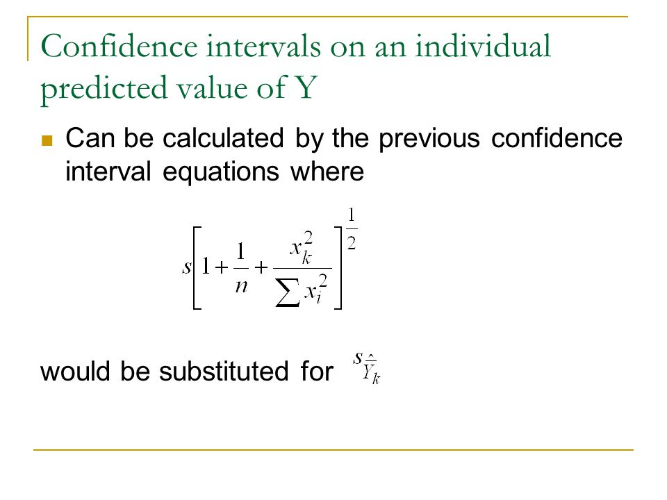 Confidence intervals on an individual predicted value of Y