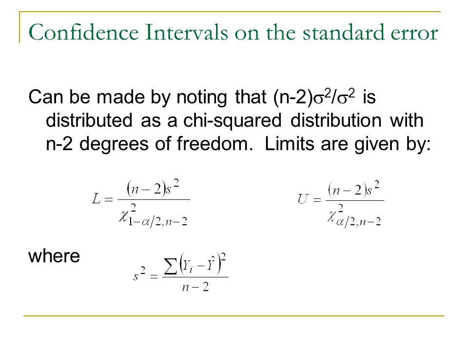 Confidence Intervals on the standard error