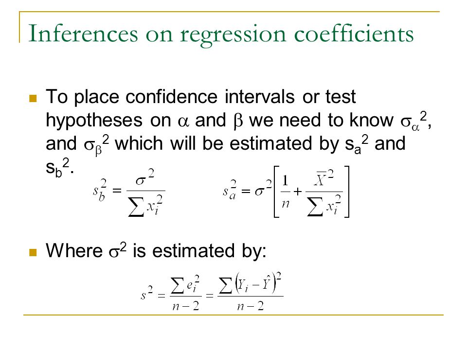 Inferences on regression coefficients