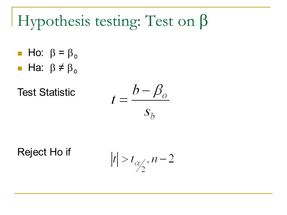Hypothesis testing: Test on b
