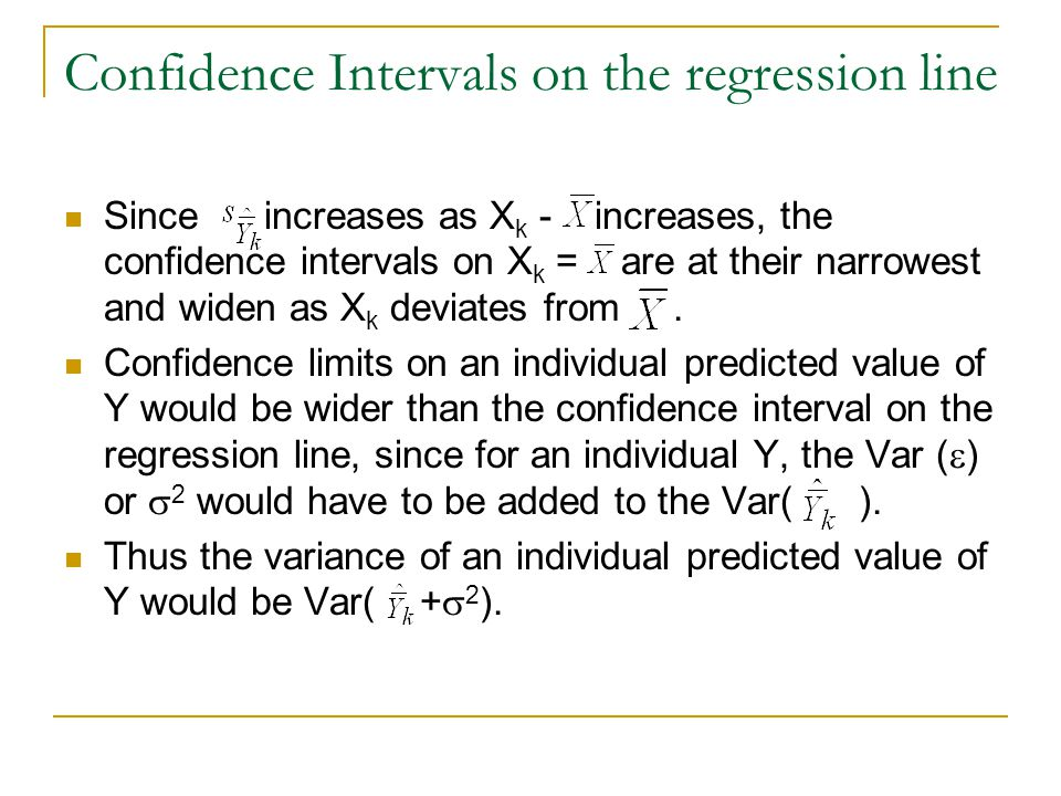 Confidence Intervals on the regression line