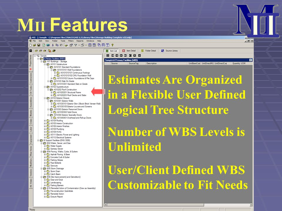 M II. MII Features. Estimates Are Organized in a Flexible User Defined Logical Tree Structure. Number of WBS Levels is Unlimited.