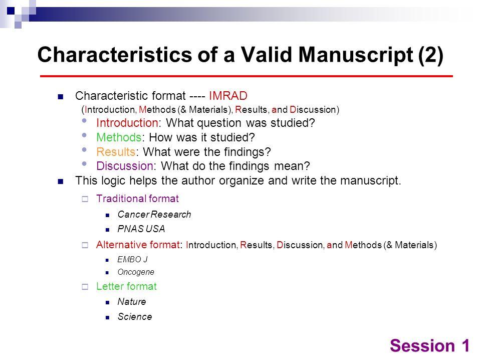 Characteristics of a Valid Manuscript (2)