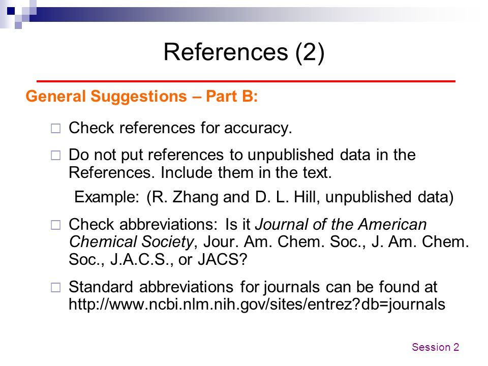 References (2) General Suggestions – Part B: