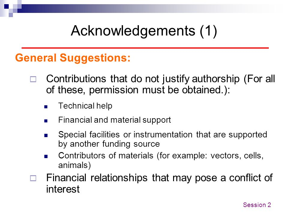Acknowledgements (1) General Suggestions: