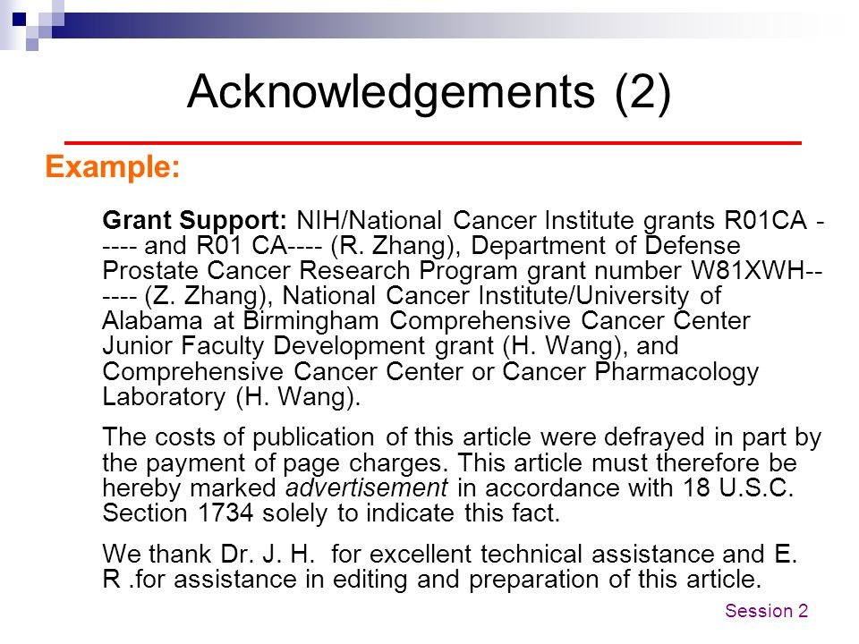 Acknowledgements (2) Example: